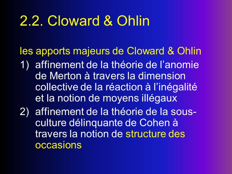 2.2. Cloward & Ohlin les apports majeurs de Cloward & Ohlin 1)affinement de la théorie de lanomie de Merton à travers la dimension collective de la ré