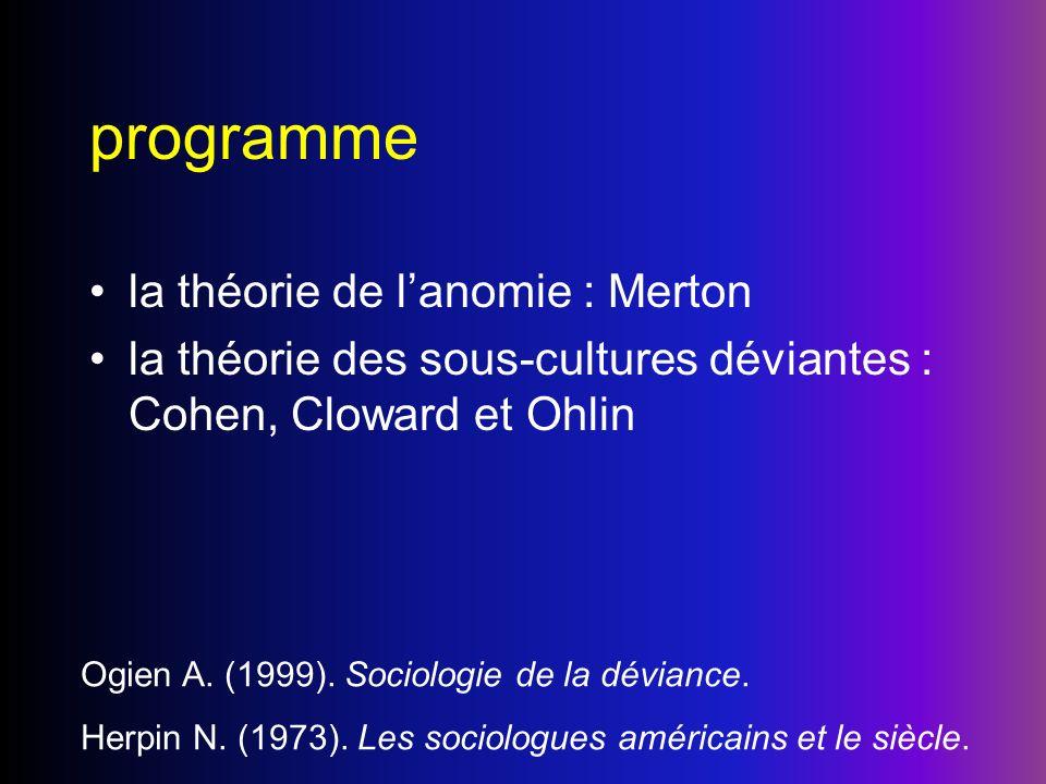 programme la théorie de lanomie : Merton la théorie des sous-cultures déviantes : Cohen, Cloward et Ohlin Ogien A. (1999). Sociologie de la déviance.