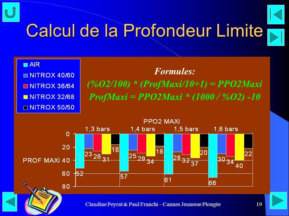 25/04/00Claudine Peyrat & Paul Franchi – Cannes Jeunesse Plongée19 Calcul de la Profondeur Limite Formules: (%O2/100) * (ProfMaxi/10+1) = PPO2Maxi Pro