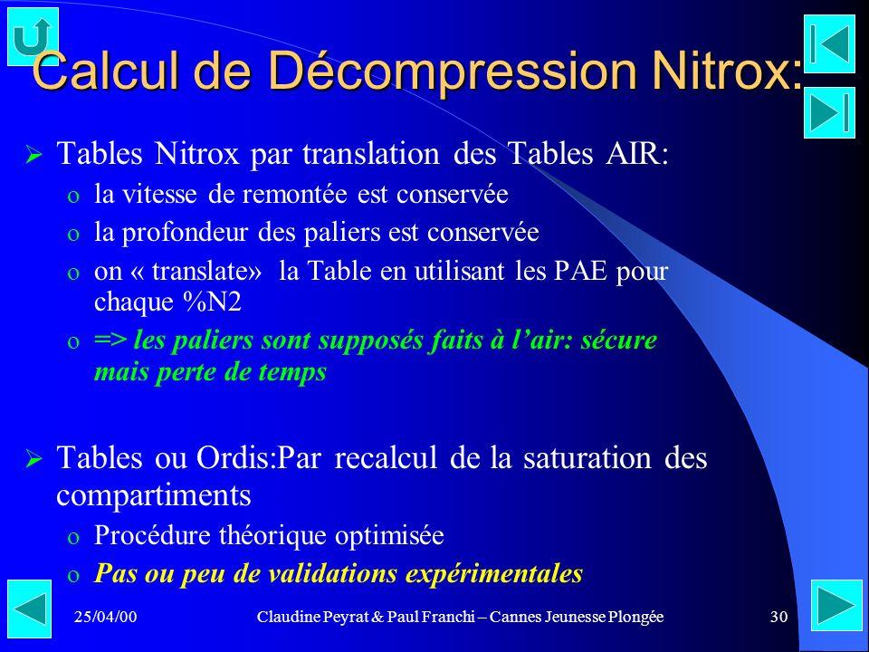 25/04/00Claudine Peyrat & Paul Franchi – Cannes Jeunesse Plongée30 Calcul de Décompression Nitrox: Tables Nitrox par translation des Tables AIR: o la