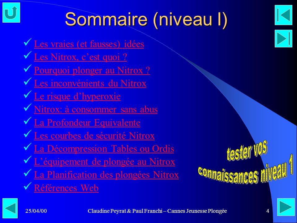 25/04/00Claudine Peyrat & Paul Franchi – Cannes Jeunesse Plongée4 Sommaire (niveau I) Les vraies (et fausses) idées Les Nitrox, cest quoi ? Pourquoi p