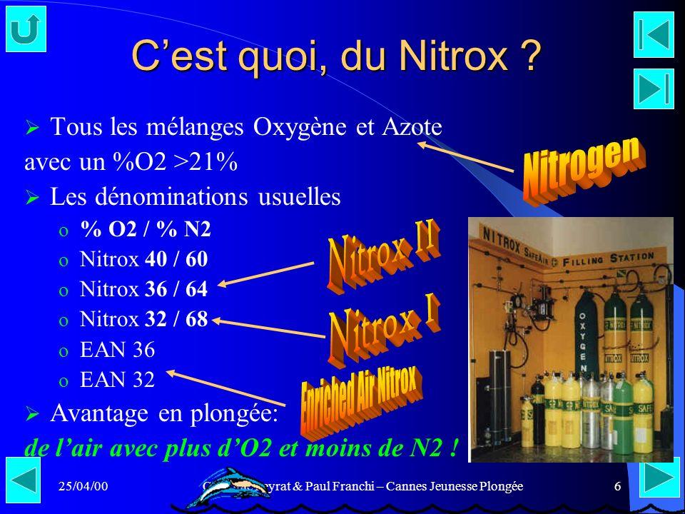 25/04/00Claudine Peyrat & Paul Franchi – Cannes Jeunesse Plongée6 Cest quoi, du Nitrox ? Tous les mélanges Oxygène et Azote avec un %O2 >21% Les dénom