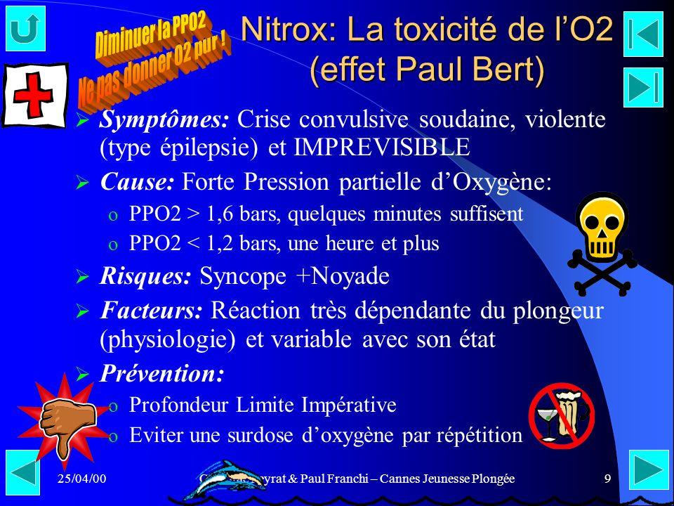 25/04/00Claudine Peyrat & Paul Franchi – Cannes Jeunesse Plongée9 Nitrox: La toxicité de lO2 (effet Paul Bert) Symptômes: Crise convulsive soudaine, v