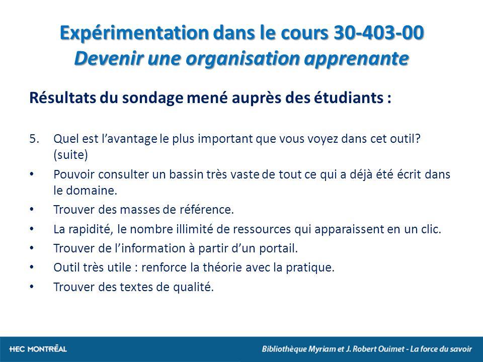 Expérimentation dans le cours 30-403-00 Devenir une organisation apprenante Résultats du sondage mené auprès des étudiants : 5.Quel est lavantage le plus important que vous voyez dans cet outil.