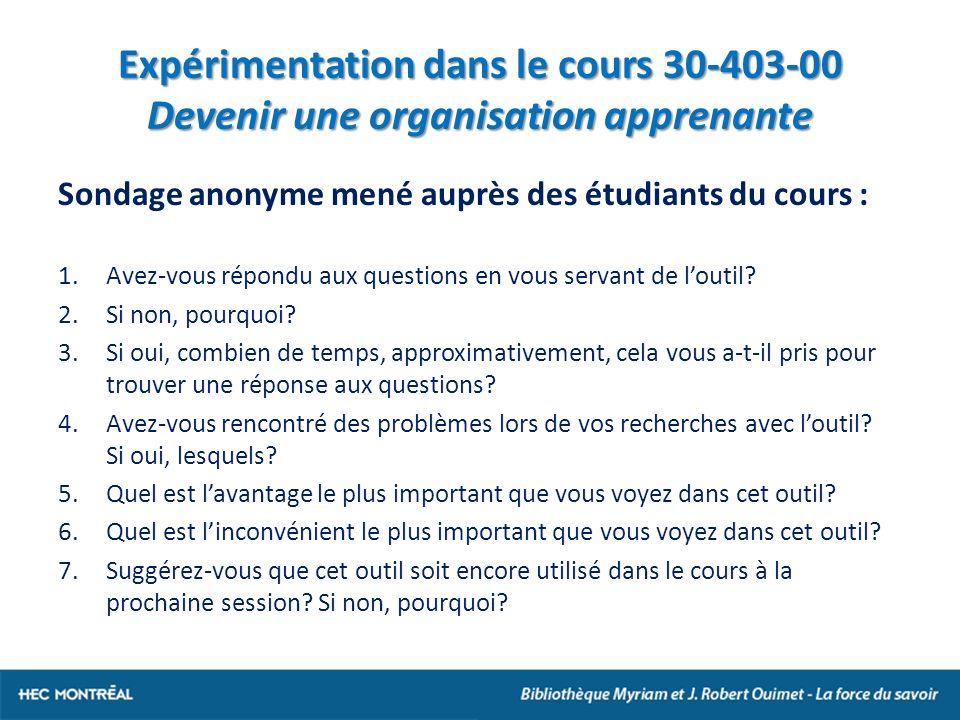Expérimentation dans le cours 30-403-00 Devenir une organisation apprenante Sondage anonyme mené auprès des étudiants du cours : 1.Avez-vous répondu aux questions en vous servant de loutil.