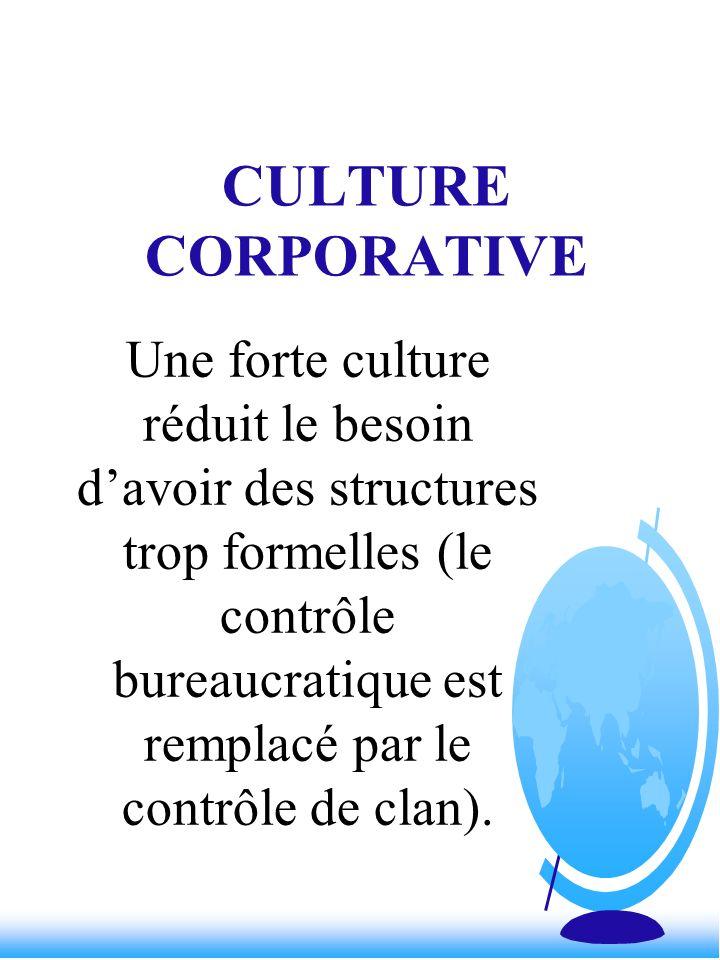 CULTURE CORPORATIVE Une forte culture réduit le besoin davoir des structures trop formelles (le contrôle bureaucratique est remplacé par le contrôle d