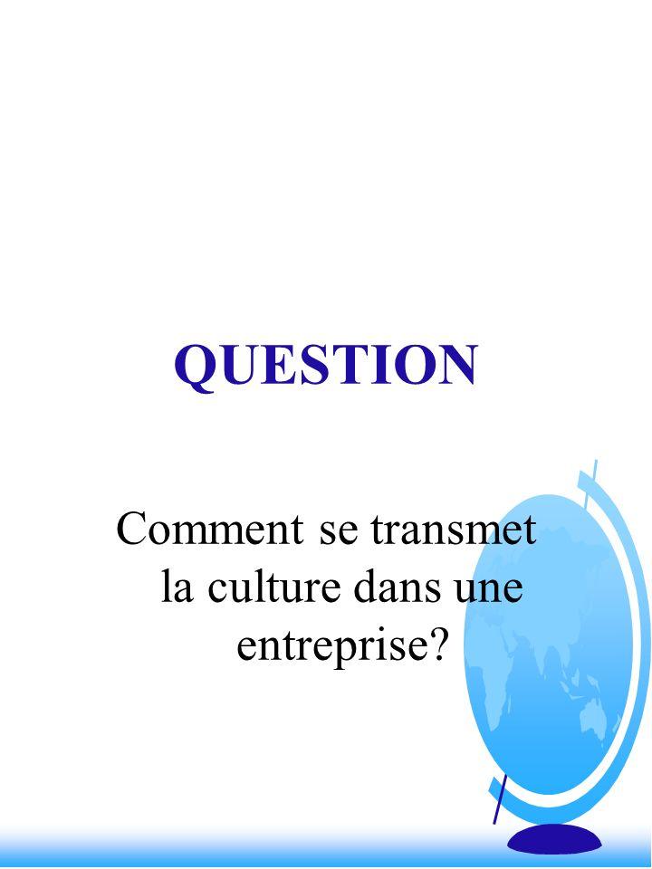 QUESTION Comment se transmet la culture dans une entreprise?