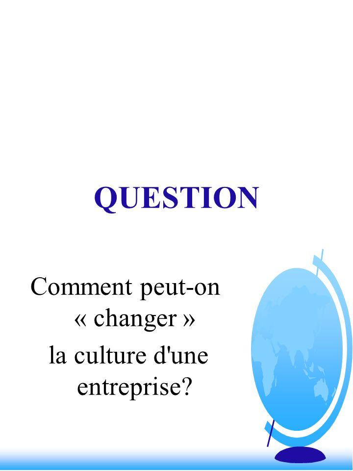 QUESTION Comment peut-on « changer » la culture d'une entreprise?