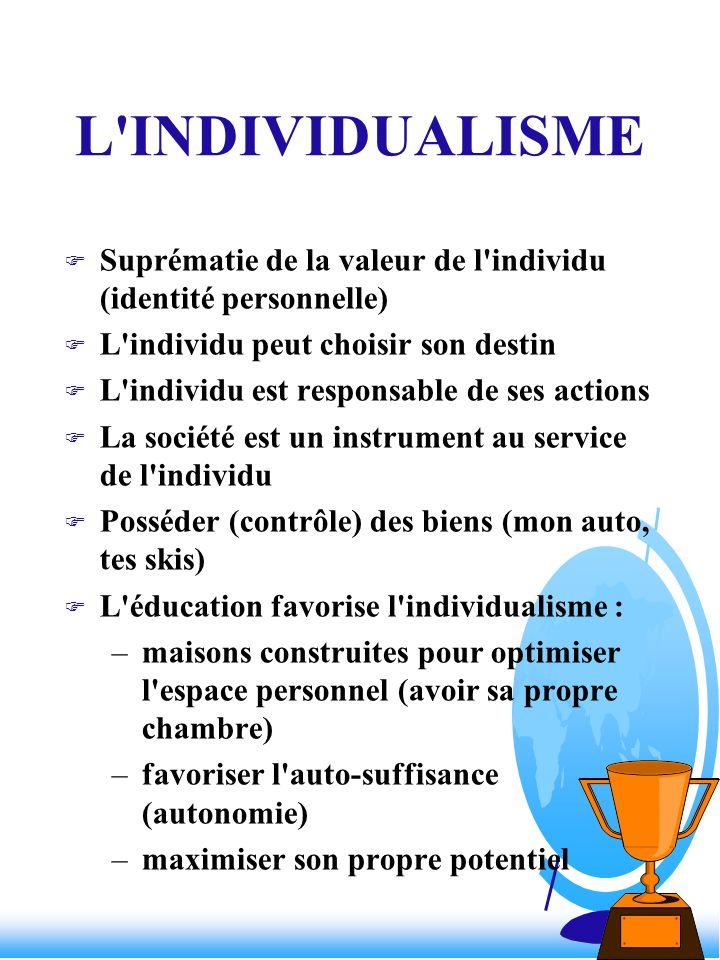 L'INDIVIDUALISME F Suprématie de la valeur de l'individu (identité personnelle) F L'individu peut choisir son destin F L'individu est responsable de s