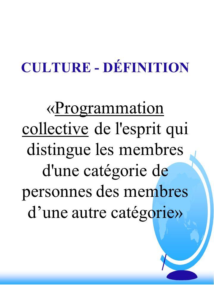 CULTURE - DÉFINITION «Programmation collective de l'esprit qui distingue les membres d'une catégorie de personnes des membres dune autre catégorie»
