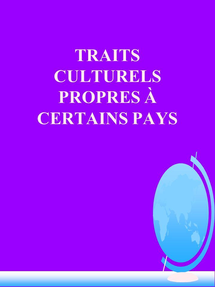 TRAITS CULTURELS PROPRES À CERTAINS PAYS