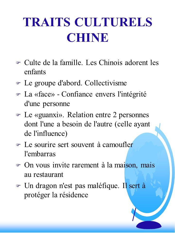 TRAITS CULTURELS CHINE F Culte de la famille. Les Chinois adorent les enfants F Le groupe d'abord. Collectivisme F La «face» - Confiance envers l'inté
