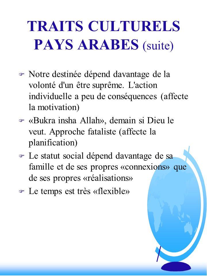 TRAITS CULTURELS PAYS ARABES (suite) F Notre destinée dépend davantage de la volonté d'un être suprême. L'action individuelle a peu de conséquences (a