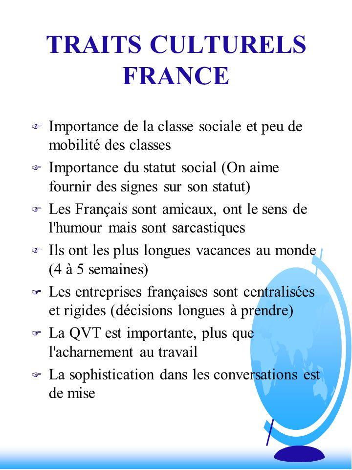 TRAITS CULTURELS FRANCE F Importance de la classe sociale et peu de mobilité des classes F Importance du statut social (On aime fournir des signes sur