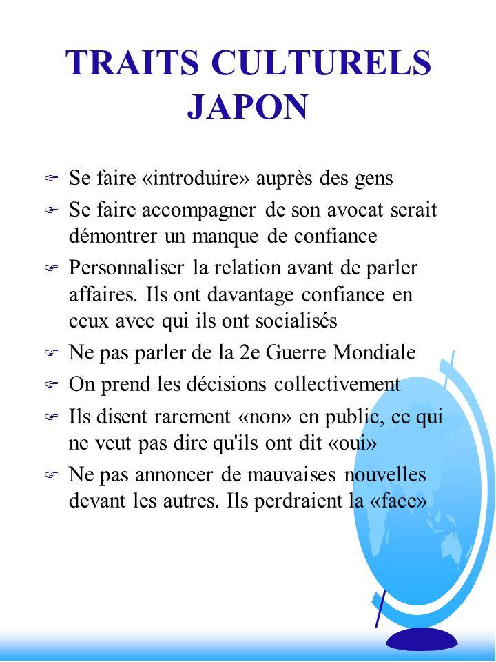 TRAITS CULTURELS JAPON F Se faire «introduire» auprès des gens F Se faire accompagner de son avocat serait démontrer un manque de confiance F Personna