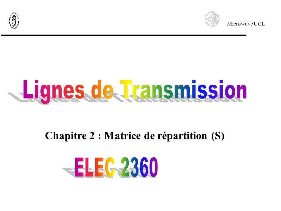 Microwave UCL Chapitre 2 : Matrice de répartition (S)