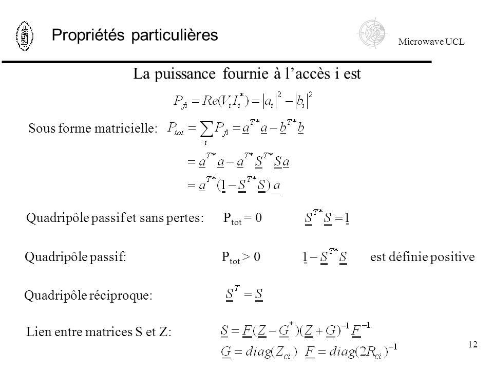 Microwave UCL 12 Propriétés particulières est définie positive La puissance fournie à laccès i est Sous forme matricielle: Quadripôle passif et sans pertes:P tot = 0 Quadripôle passif:P tot > 0 Quadripôle réciproque: Lien entre matrices S et Z: