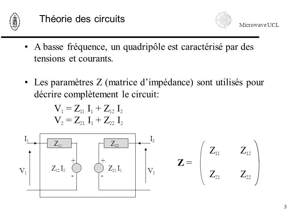Microwave UCL 3 A basse fréquence, un quadripôle est caractérisé par des tensions et courants.