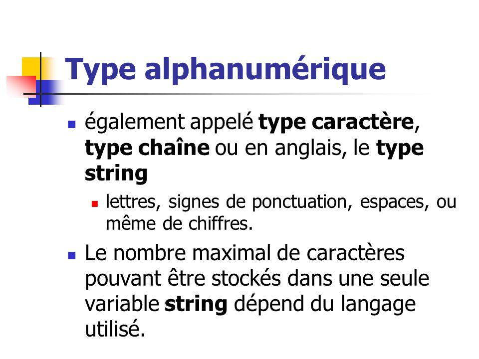 Type alphanumérique également appelé type caractère, type chaîne ou en anglais, le type string lettres, signes de ponctuation, espaces, ou même de chi