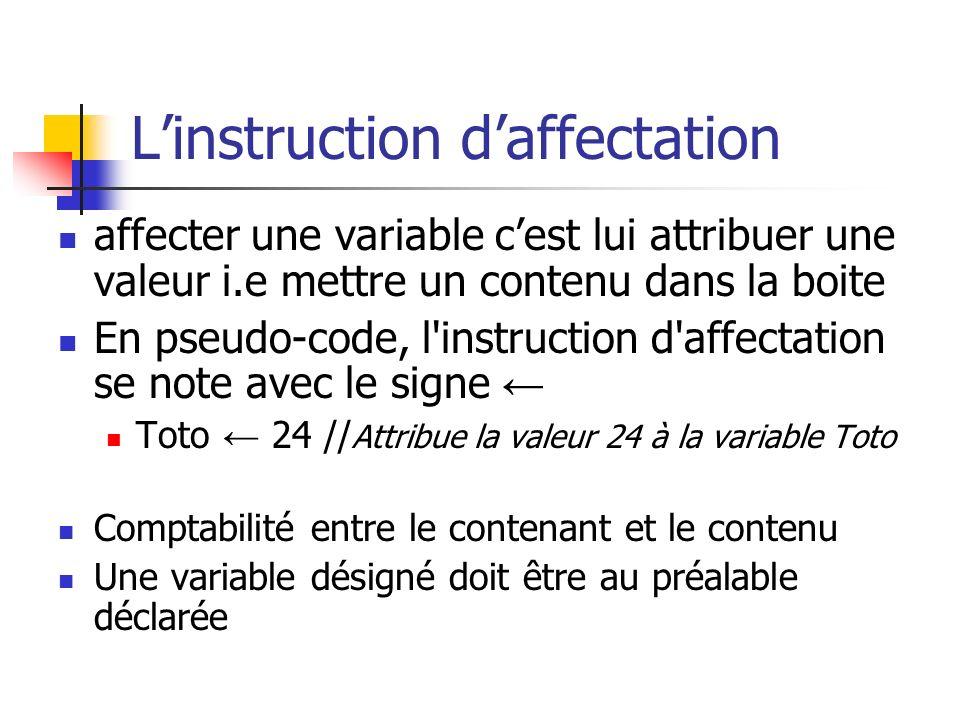 Linstruction daffectation affecter une variable cest lui attribuer une valeur i.e mettre un contenu dans la boite En pseudo-code, l'instruction d'affe