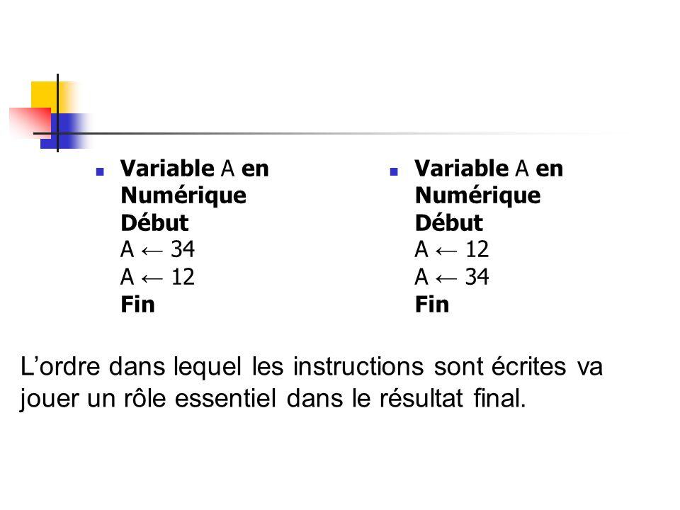 Variable A en Numérique Début A 34 A 12 Fin Variable A en Numérique Début A 12 A 34 Fin Lordre dans lequel les instructions sont écrites va jouer un r