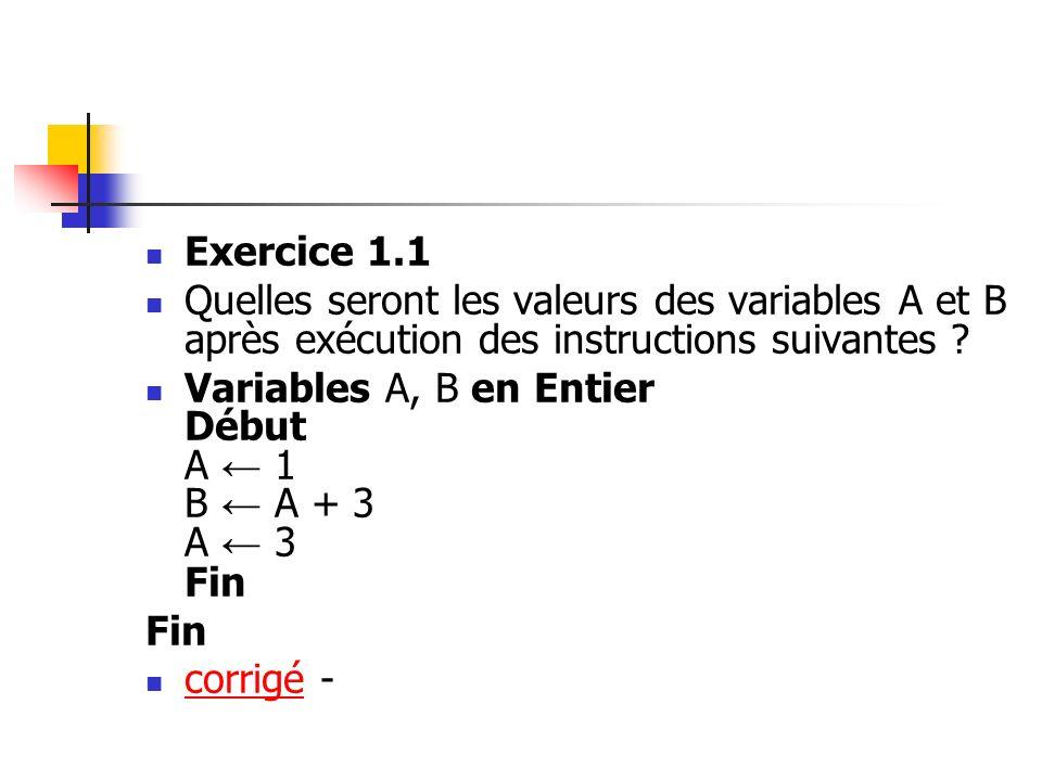 Exercice 1.1 Quelles seront les valeurs des variables A et B après exécution des instructions suivantes ? Variables A, B en Entier Début A 1 B A + 3 A