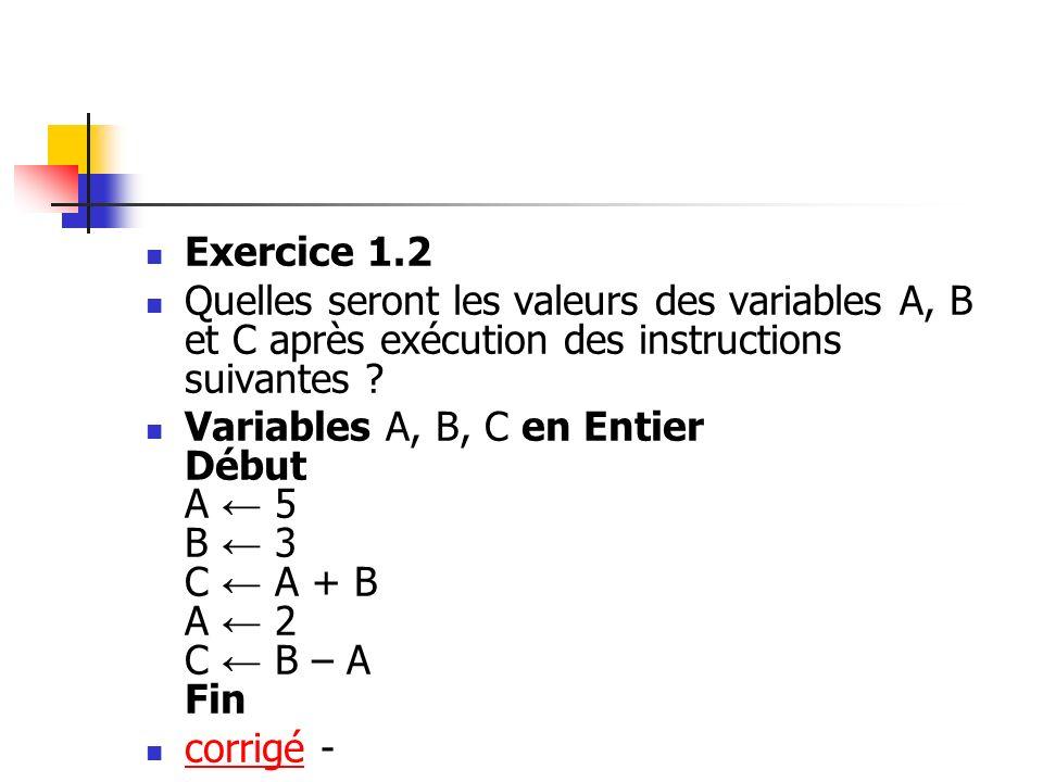 Exercice 1.2 Quelles seront les valeurs des variables A, B et C après exécution des instructions suivantes ? Variables A, B, C en Entier Début A 5 B 3