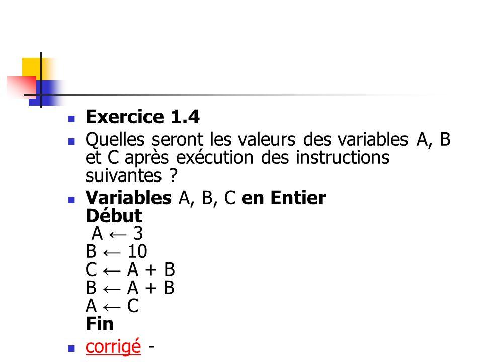Exercice 1.4 Quelles seront les valeurs des variables A, B et C après exécution des instructions suivantes ? Variables A, B, C en Entier Début A 3 B 1