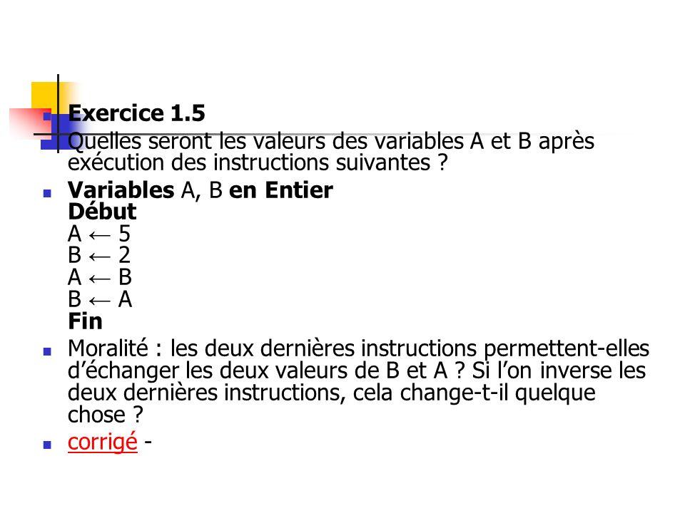 Exercice 1.5 Quelles seront les valeurs des variables A et B après exécution des instructions suivantes ? Variables A, B en Entier Début A 5 B 2 A B B
