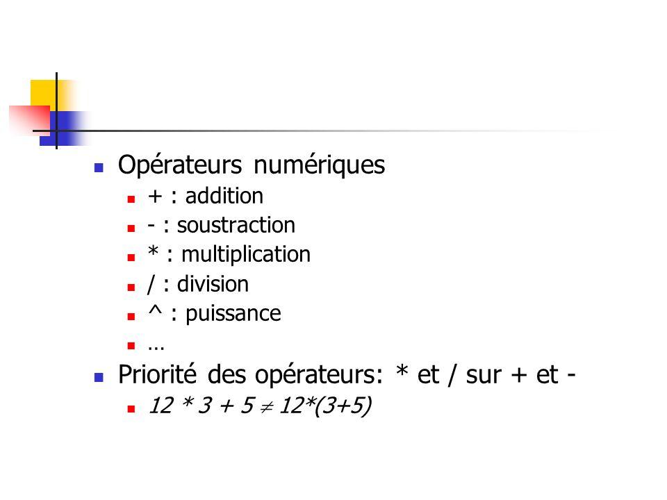 Opérateurs numériques + : addition - : soustraction * : multiplication / : division ^ : puissance … Priorité des opérateurs: * et / sur + et - 12 * 3