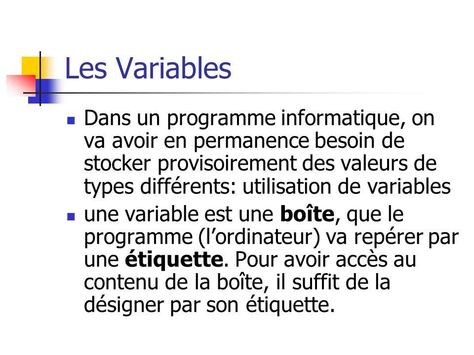 Les Variables Dans un programme informatique, on va avoir en permanence besoin de stocker provisoirement des valeurs de types différents: utilisation