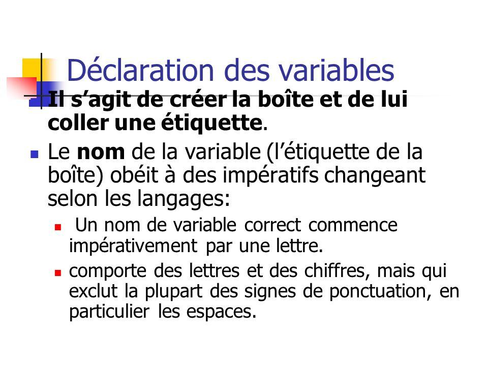 Déclaration des variables Il sagit de créer la boîte et de lui coller une étiquette. Le nom de la variable (létiquette de la boîte) obéit à des impéra