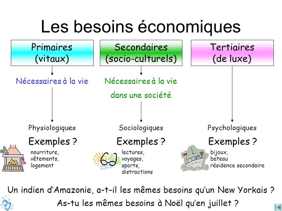 Les besoins économiques Nécessaires à la vie Physiologiques Primaires (vitaux) Secondaires (socio-culturels) Nécessaires à la vie dans une société Soc