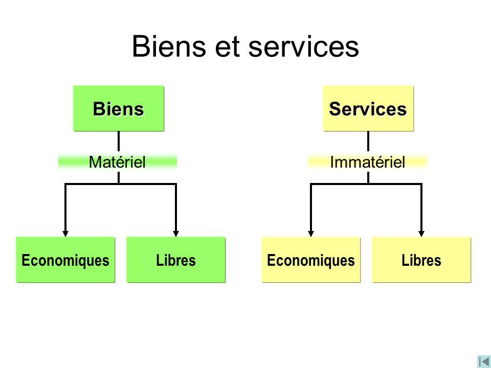 BiensServices EconomiquesLibresEconomiquesLibres MatérielImmatériel