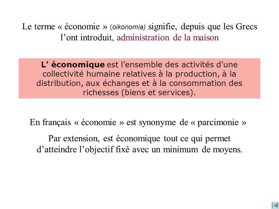 Le terme « économie » (oikonomia) signifie, depuis que les Grecs lont introduit, administration de la maison En français « économie » est synonyme de