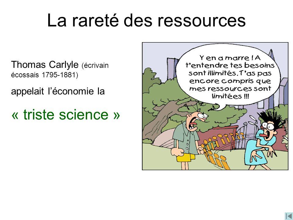 Thomas Carlyle (écrivain écossais 1795-1881) appelait léconomie la « triste science » La rareté des ressources