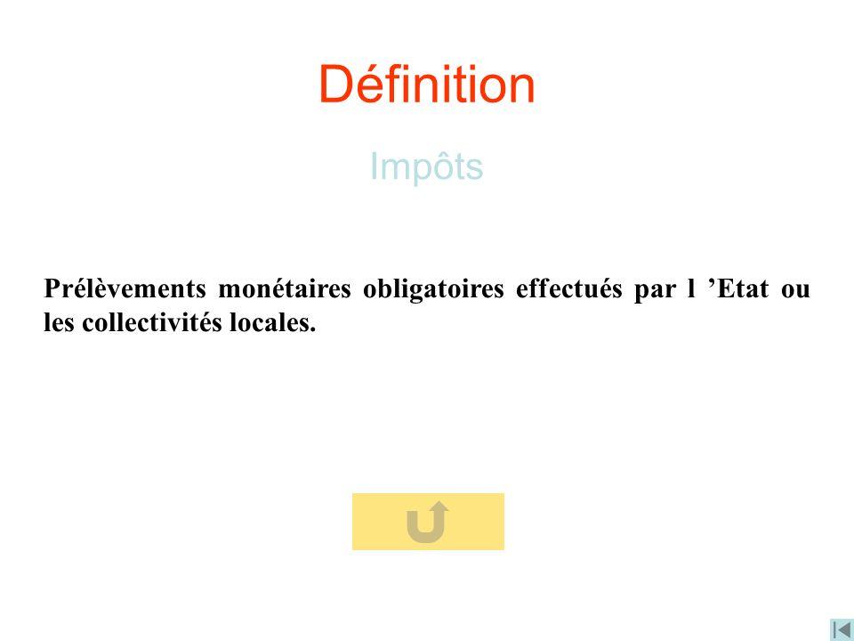 Définition Impôts Prélèvements monétaires obligatoires effectués par l Etat ou les collectivités locales.