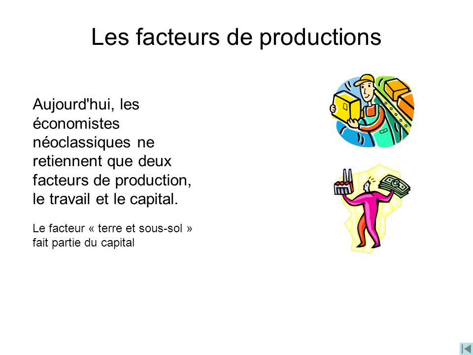 Les facteurs de productions Aujourd'hui, les économistes néoclassiques ne retiennent que deux facteurs de production, le travail et le capital. Le fac