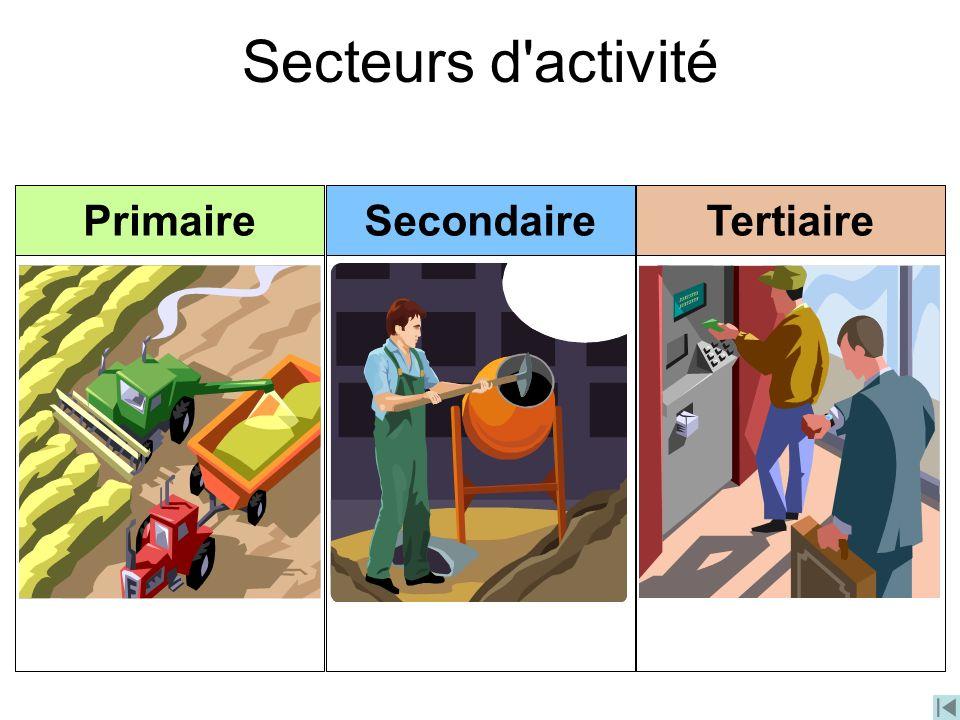 Secteurs d'activité PrimaireSecondaireTertiaire