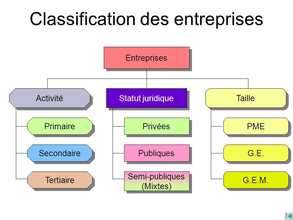 Classification des entreprises Entreprises Activité Statut juridique Taille Primaire Secondaire Tertiaire Privées Publiques Semi-publiques (Mixtes) Se