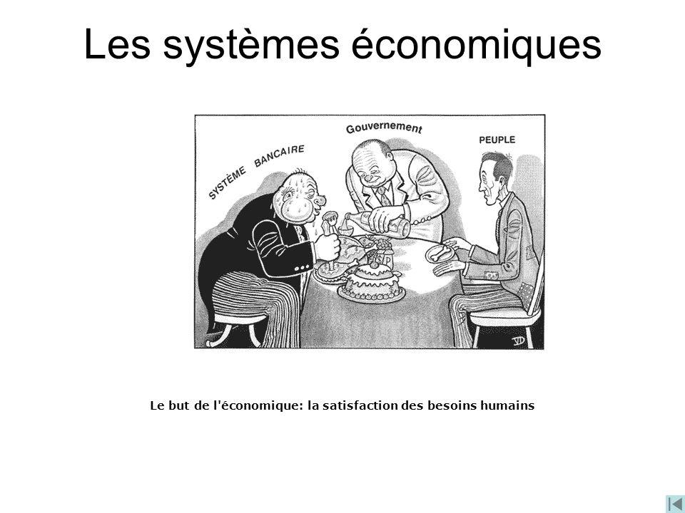 Les systèmes économiques Le but de l'économique: la satisfaction des besoins humains