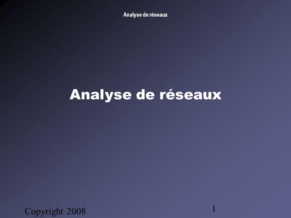 Analyse de réseaux Copyright 2008 Bruno Gendron Consultant 1 Analyse de réseaux