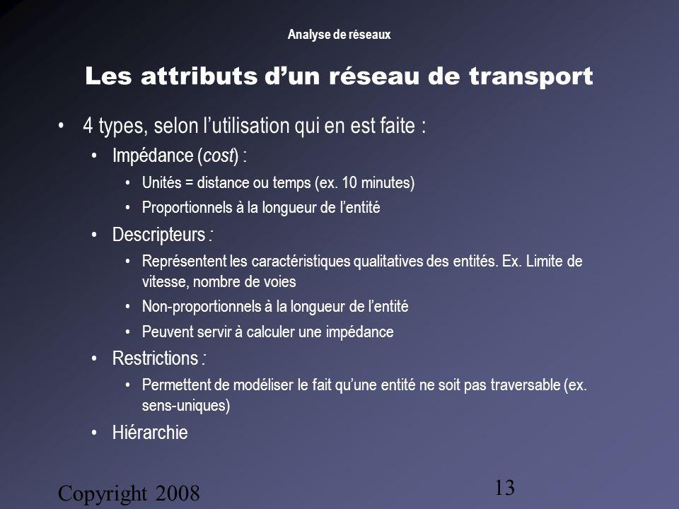 Analyse de réseaux Copyright 2008 Bruno Gendron Consultant 13 Les attributs dun réseau de transport 4 types, selon lutilisation qui en est faite : Impédance ( cost ) : Unités = distance ou temps (ex.