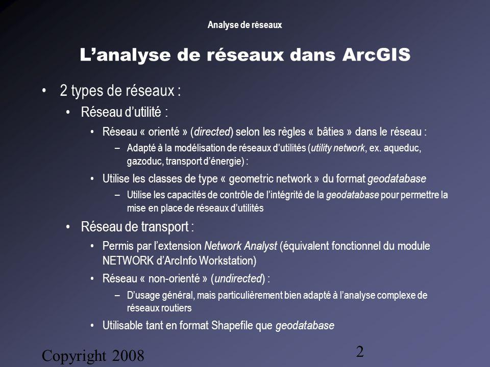 Copyright 2008 Bruno Gendron Consultant 2 Lanalyse de réseaux dans ArcGIS 2 types de réseaux : Réseau dutilité : Réseau « orienté » ( directed ) selon les règles « bâties » dans le réseau : –Adapté à la modélisation de réseaux dutilités ( utility network, ex.