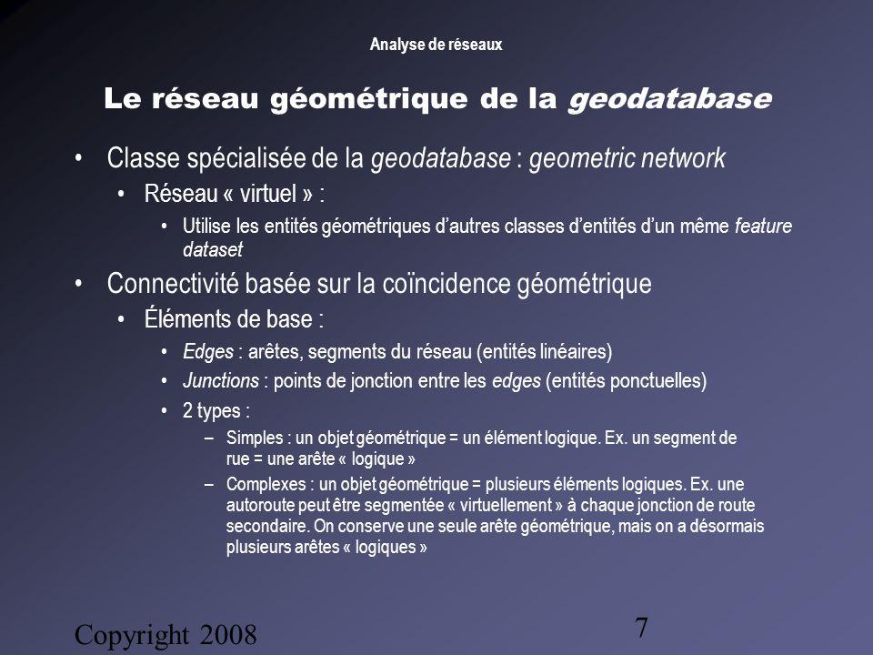 Analyse de réseaux Copyright 2008 Bruno Gendron Consultant 8 Le réseau géométrique de la geodatabase Autres caractéristiques des « réseaux géométriques » : Impédances : Tirées dun ou plusieurs champs numériques.