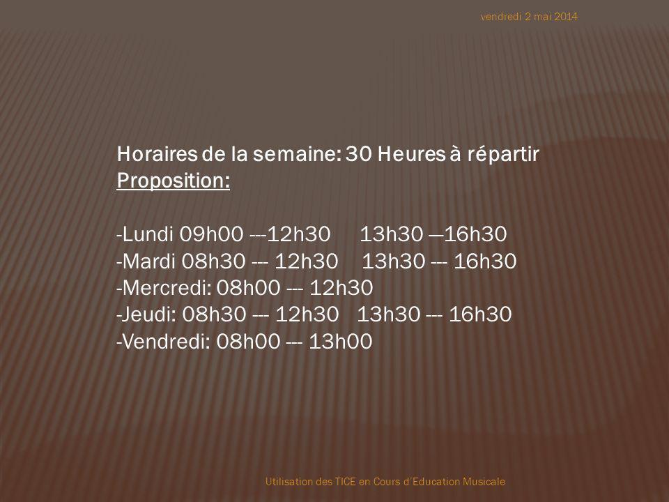 vendredi 2 mai 2014 Utilisation des TICE en Cours dEducation Musicale Horaires de la semaine: 30 Heures à répartir Proposition: -Lundi 09h00 ---12h30 13h30 16h30 -Mardi 08h30 --- 12h30 13h30 --- 16h30 -Mercredi: 08h00 --- 12h30 -Jeudi: 08h30 --- 12h30 13h30 --- 16h30 -Vendredi: 08h00 --- 13h00