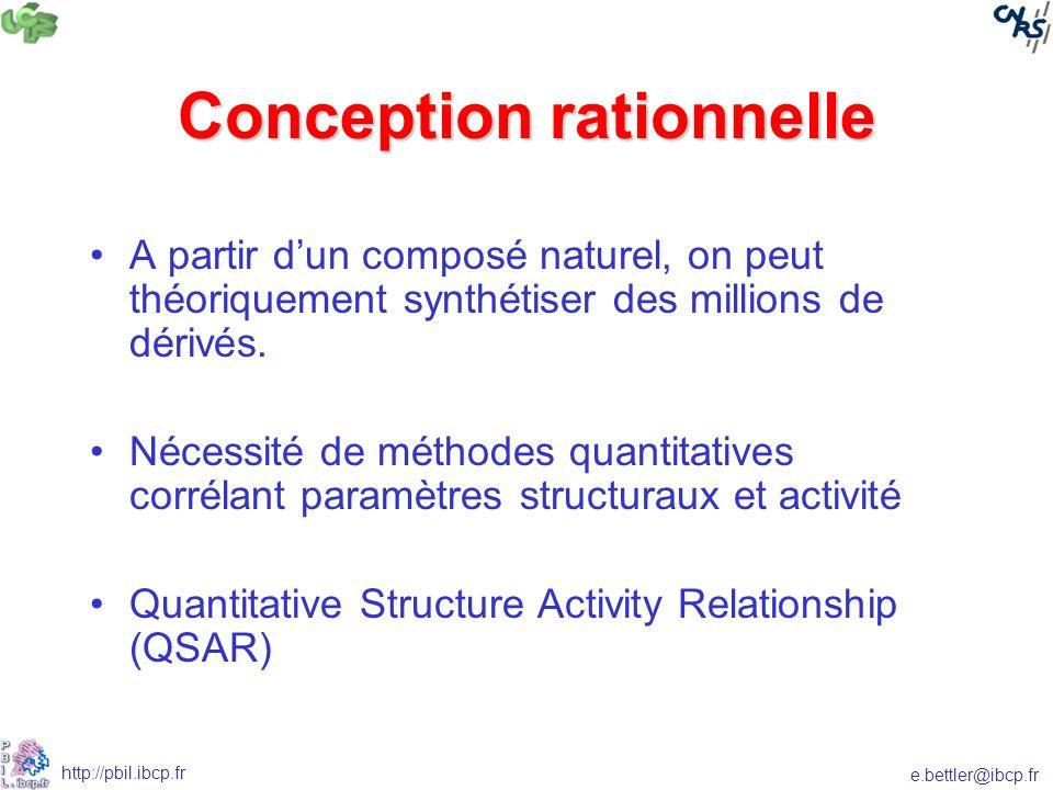 e.bettler@ibcp.fr http://pbil.ibcp.fr Conception rationnelle A partir dun composé naturel, on peut théoriquement synthétiser des millions de dérivés.
