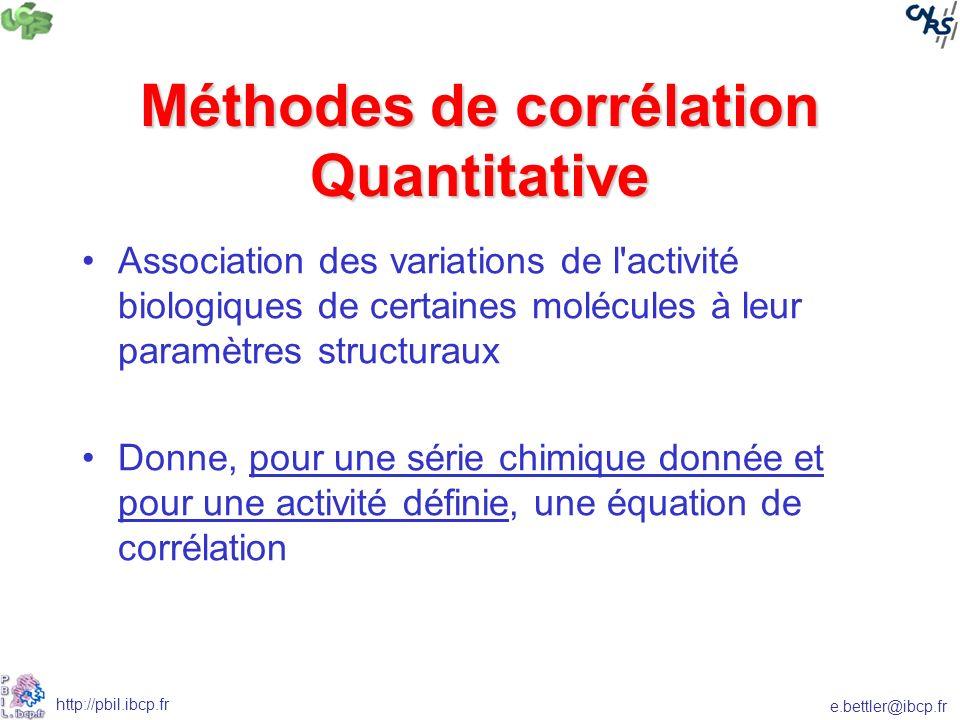 e.bettler@ibcp.fr http://pbil.ibcp.fr Méthodes de corrélation Quantitative Association des variations de l activité biologiques de certaines molécules à leur paramètres structuraux Donne, pour une série chimique donnée et pour une activité définie, une équation de corrélation