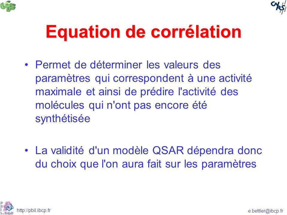 e.bettler@ibcp.fr http://pbil.ibcp.fr Equation de corrélation Permet de déterminer les valeurs des paramètres qui correspondent à une activité maximale et ainsi de prédire l activité des molécules qui n ont pas encore été synthétisée La validité d un modèle QSAR dépendra donc du choix que l on aura fait sur les paramètres