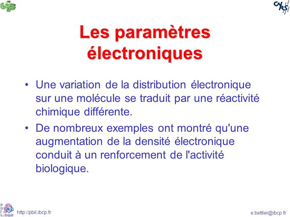 e.bettler@ibcp.fr http://pbil.ibcp.fr Les paramètres électroniques Une variation de la distribution électronique sur une molécule se traduit par une réactivité chimique différente.